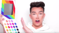 James Charles on YouTube holding an eyeshadow palette