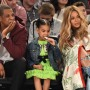 Jay-Z, Blue Ivy, and Beyonce Sitting Courtside
