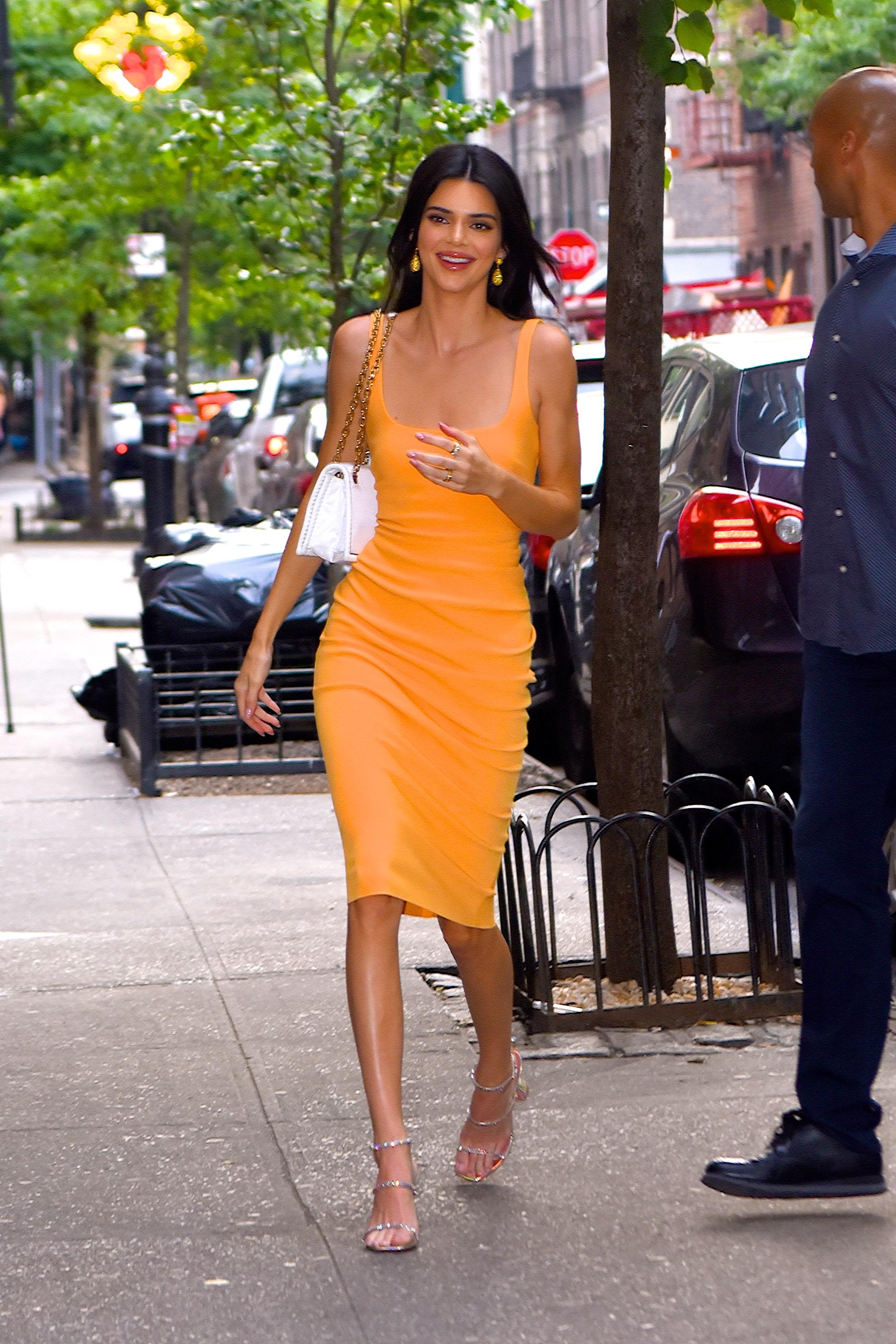 Kendall Jenner's Street Style Model Rocks Slinky, Tangerine Dress