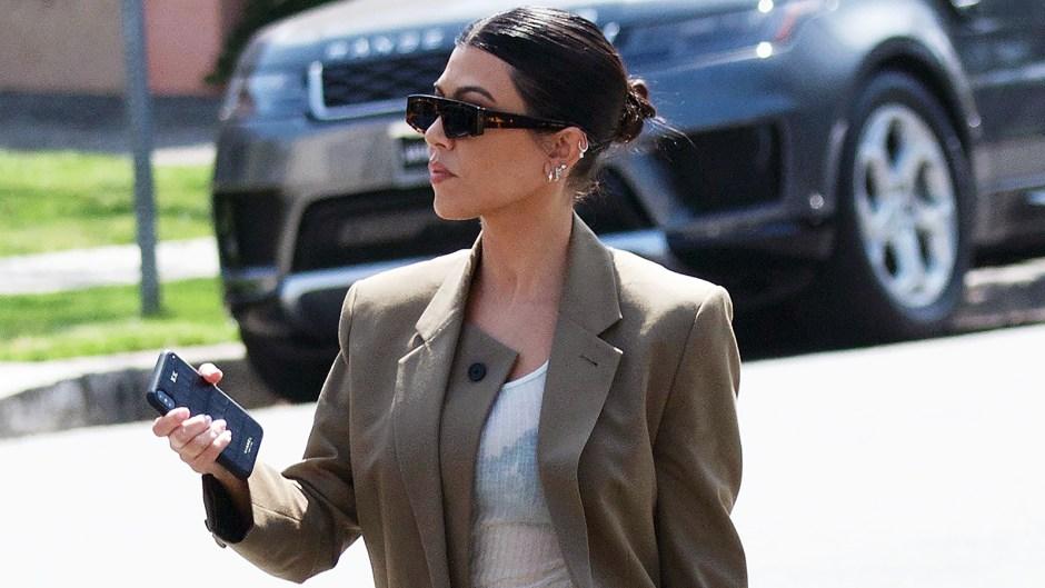 Kourtney Kardashian Tan Pantsuit Shades Filming KUWTK