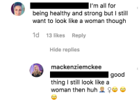 Mackenzie Mckee Instagram Comment to Body Shamer Who Calls Her too Muscular