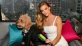 Nina Agdal In a White Dress With a Dog