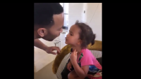 John Legend Luna Stephens kiss while eating spaghetti chrissy teigen kids mom moments cute video