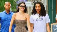 Kendall Jenner in a Leopard Print Dress With Luka Sabbat