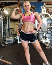 Mackenzie Mckee Bikini Competition Photos Pink Tank Top Black Shorts