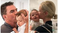 Split Image of Meghan King Edmonds and Jim Edmonds Holding Their Son