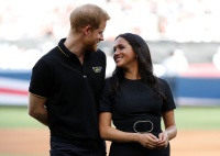Meghan Markle and Prince Harry at a Yankees vs. Red Sox Game in London