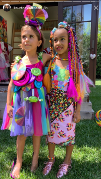 North West and Penelope Disick Dressed Up in Neon Candy Clothes
