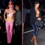 Miley Cyrus wears a pink bra and pink pants, right. Kim Kardashian, center, wears a bra and blue felt pants with a suit jacket. Bella Thorne, right, wears a leather bra with black pants and a black suit jacket.