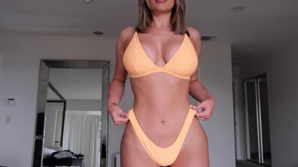 stassie-karanikolaou-bikini-try-on