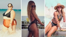 Three-Way Split of Whitney Thore, Laverne Cox and Sarah Herron in Bathing Suits
