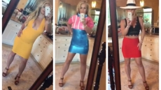 Britney Spears wearing 3 different outfits