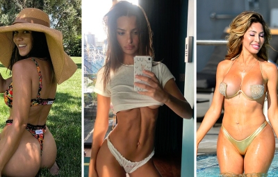 Side-by-Side Photos of Kourtney Kardashian in Bikini, Emily Ratajkowski in Underwear and Farrah Abraham in Bikini
