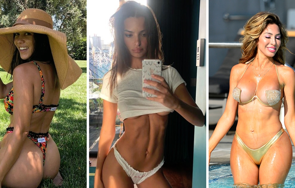 Side-by-Side Photos of Kourtney Kardashian in Bikini, Emily Ratajkowski in Underwear and Farrah Abraham in Bikini