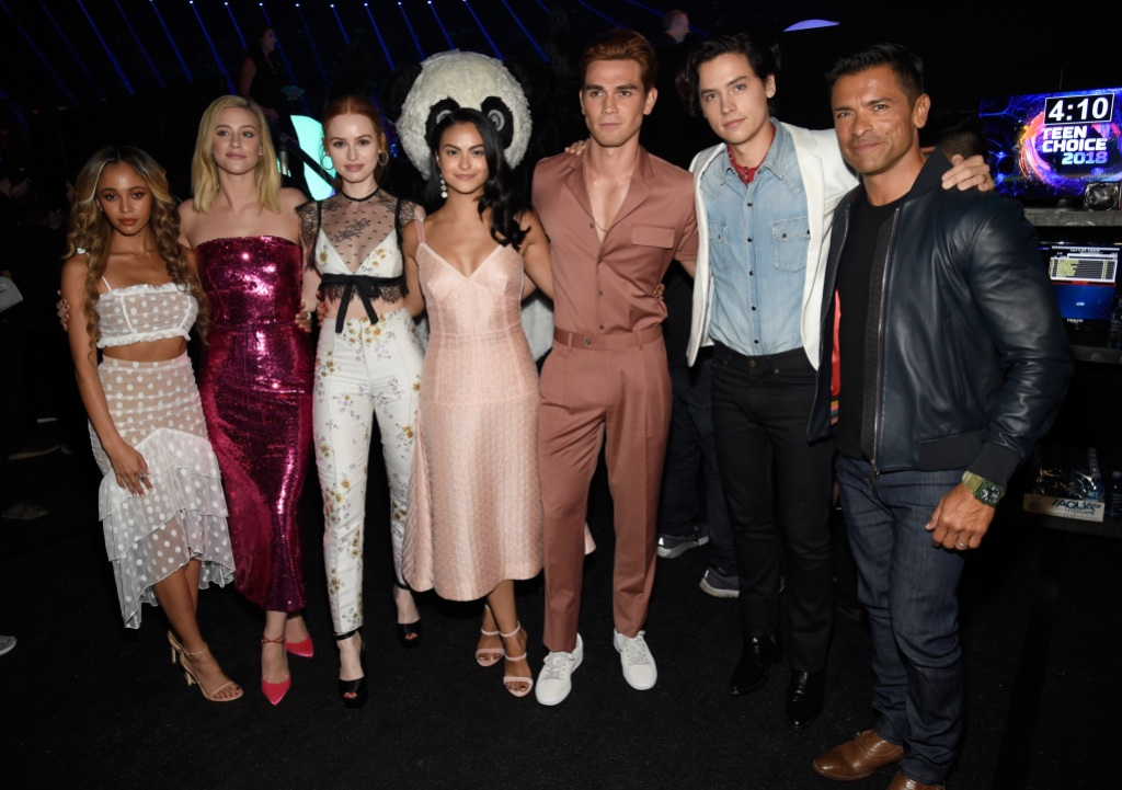 Riverdale cast Vanessa Morgan, Lili Reinhart, Madelaine Petsch, Camila Mendes, KJ Apa, Cole Sprouse and Mark Consuelos