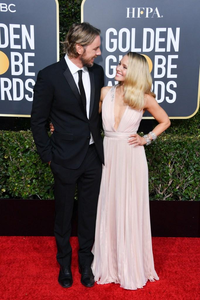 Kristen Bell Pink Dress and Dax Shepard Black Suit Golden Globes 2019