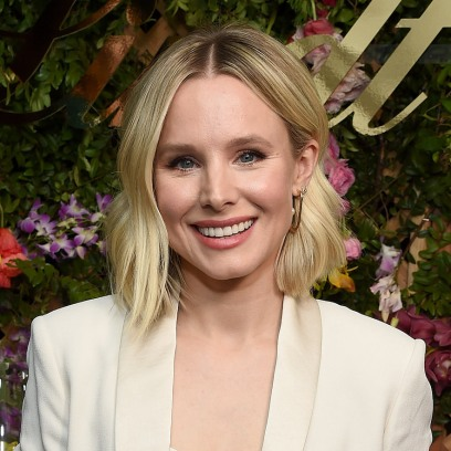 Kristen Bell Short Hair Cream Colored Blazer Swimsuit Video Vacation in Michigan With Dax Shepard