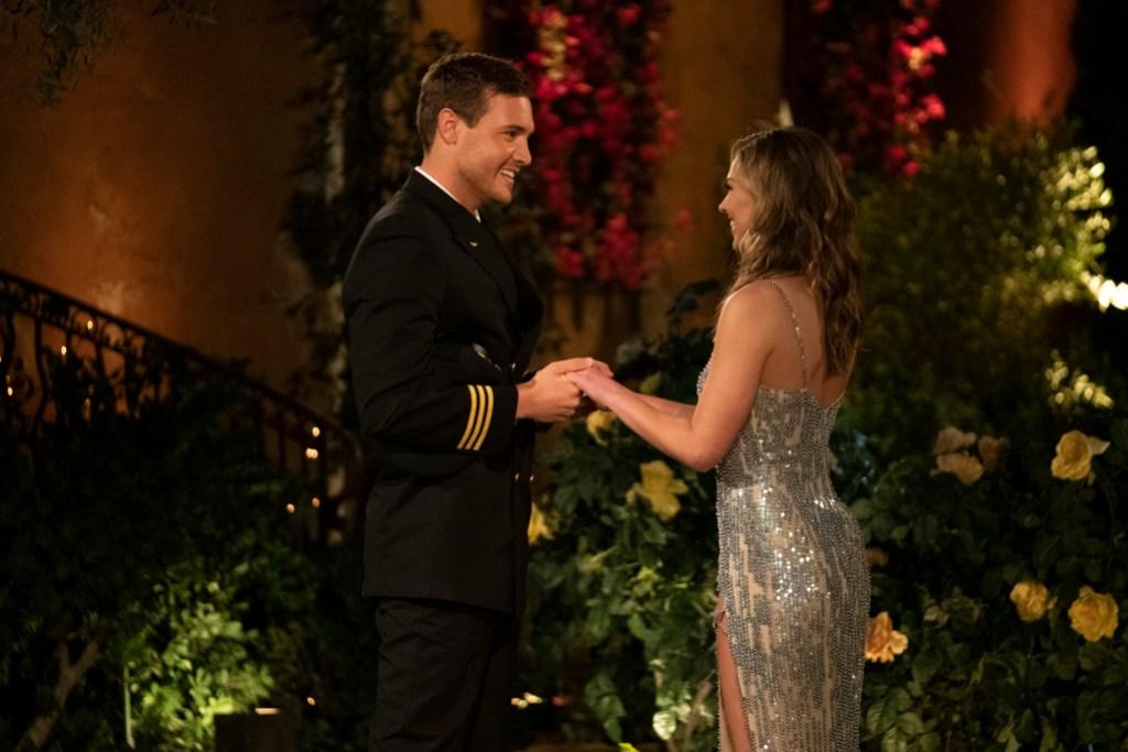 Bachelorette Hannah Brown and Peter Weber Night One Pilot Uniform