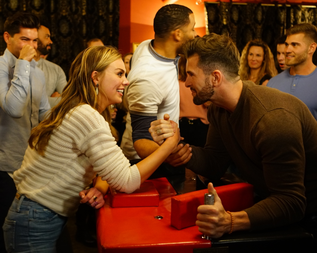 Bachelorette Hannah Brown and Jed Wyatt Arm Wrestling Relationship Engaged