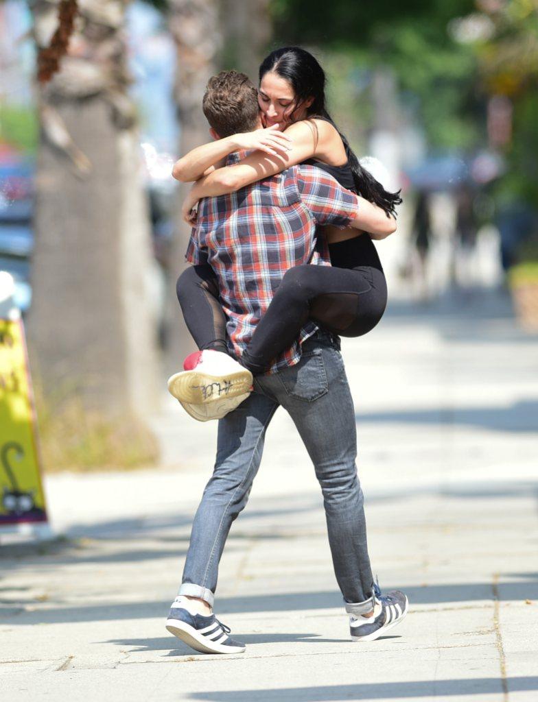 Nikki Bella and Artem Chigvintsev Hugging in Los Angeles