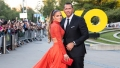 Alex Rodriguez in a Tux and Jennifer Lopez in Two Piece Orange Ball Gown 50th Birthday Video