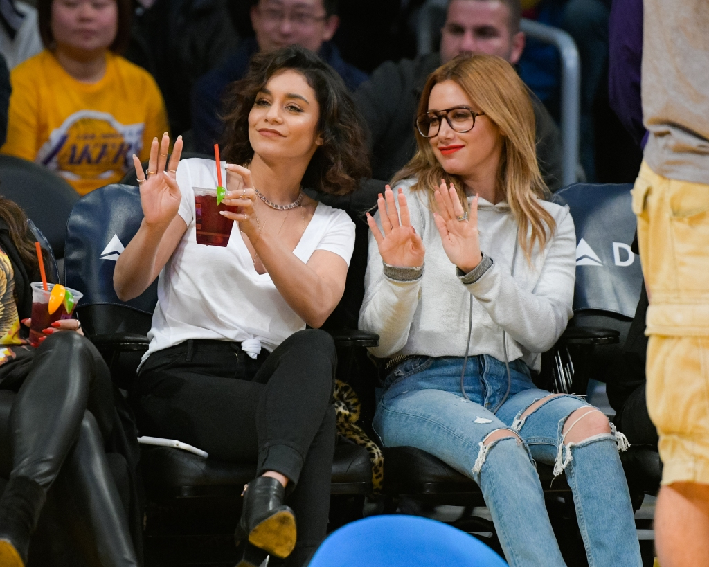 Ashley Tisdale Wearing Glasses and Jeans With Vanessa Hudgens in Jeans and a White T-Shirt at a Basketball Game