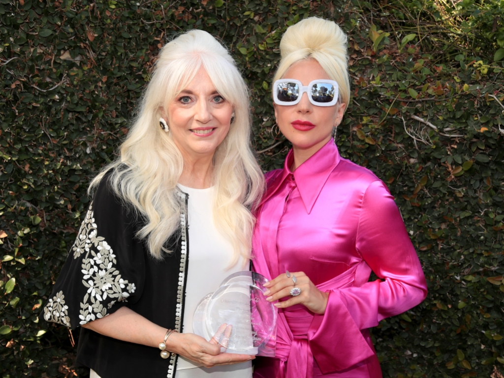 Lady Gaga Wearing a Pink Outfit with Cynthia
