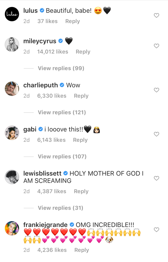 Ariana Grande comments on instagram