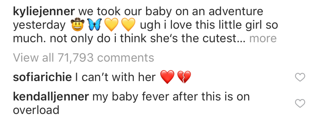 Kendall Jenner Sofia Richie Comment on Kylie Jenner Instagram