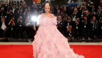 Lady Gaga Wearing a Pink Dress