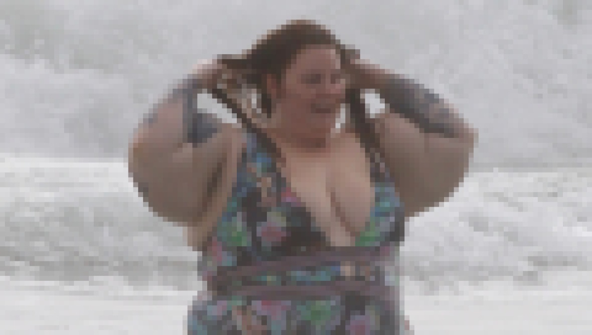 Tess Holliday Floral One Piece Swimsuit at the Beach