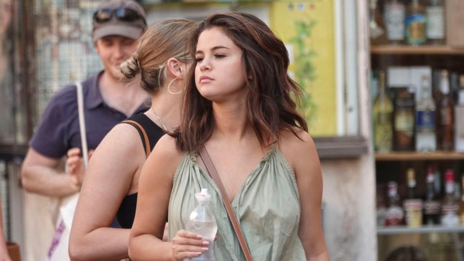 Selena Gomez Green Maxi Dress No Bra in Rome Italy