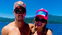 Miranda Lambert Wearing a Pink Hat With Brendan McLoughlin in a Hat and Sunglasses on a Boat in Lake Tahoe