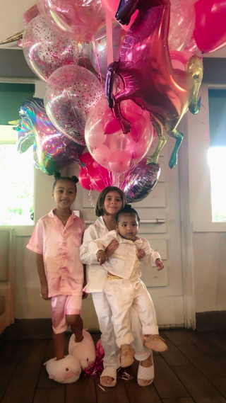 North West True Thompson and Penelope Disick at ihop for birthday party