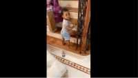 Cardi B Daughter Kulture Climbing Stairs