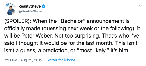 Reality Steve says Peter is Bachelor Spoiler Tweet