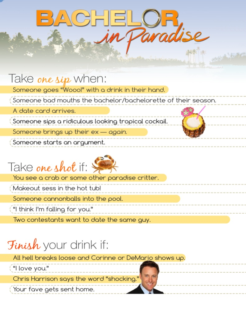 Bachelor in Paradise Drinking Game