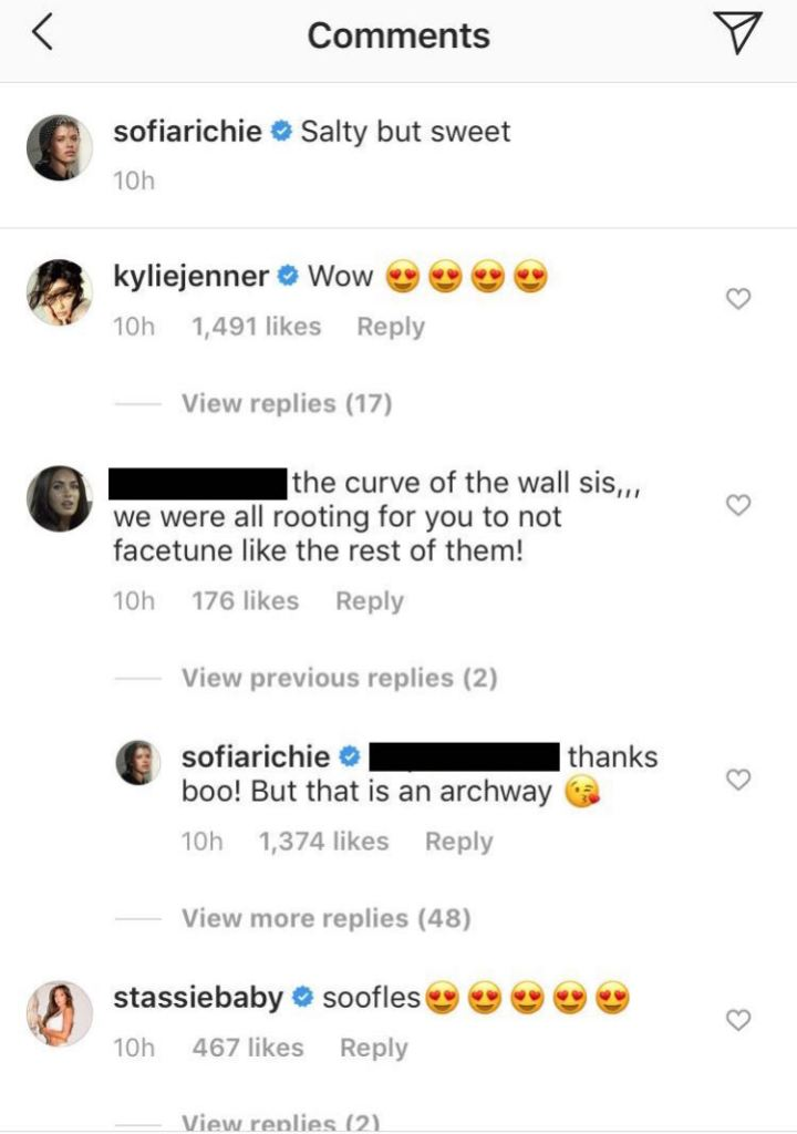 Sofia Richie Instagram Comments Photoshopping
