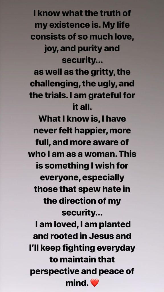 Hailey Baldwin written post instagram story