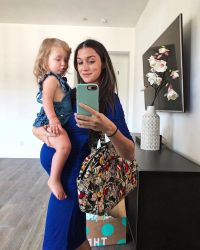 Jade Roper and Daughter Emerson Blue Dress Baby Bump