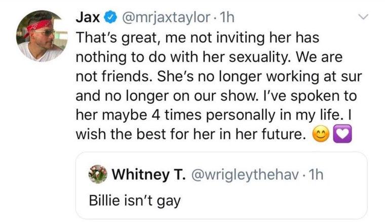 Jax Taylor's Tweet About Billie Lee Leaving 'Vanderpump Rules'