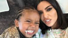 Saint West and Kim Kardashian Funny Faces Instagram
