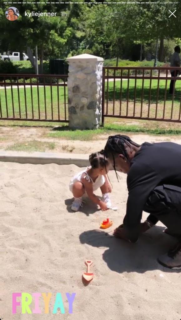 Kylie Jenner, Travis Scott and Stormi at the Park