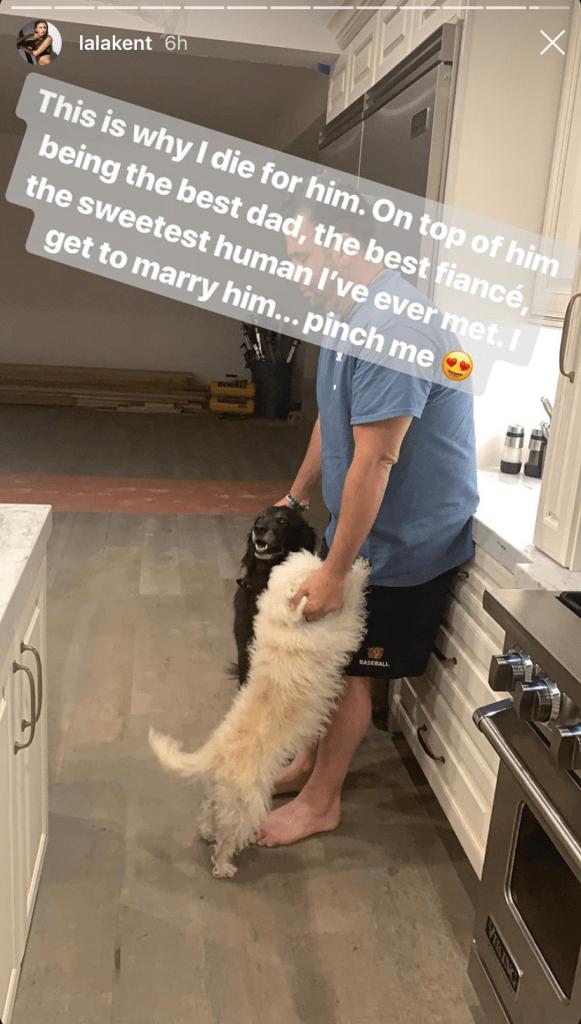 Randall Emmett Petting Dogs on Lala Kent's Instagram Story