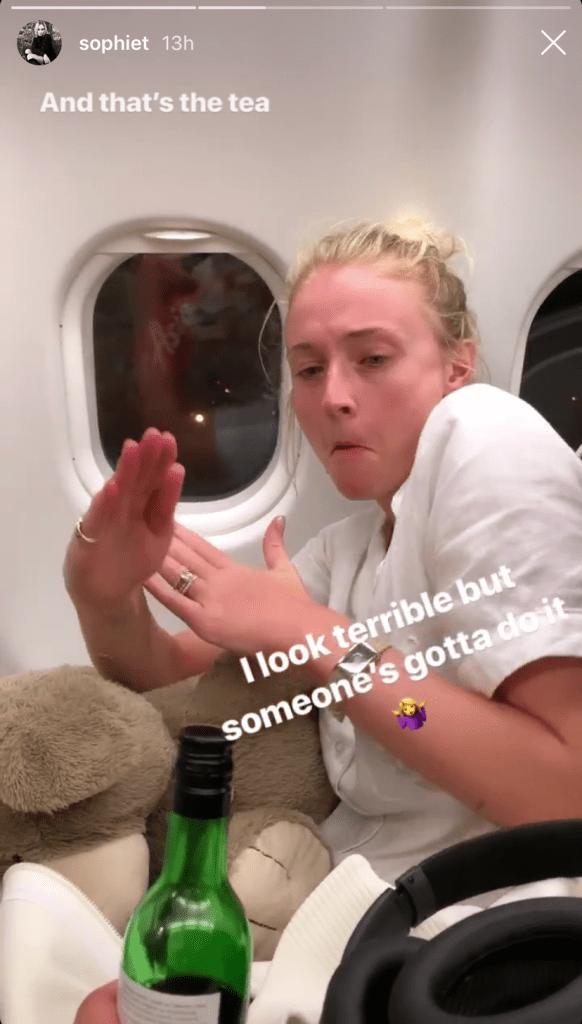 Sophie Turner on an Airplane