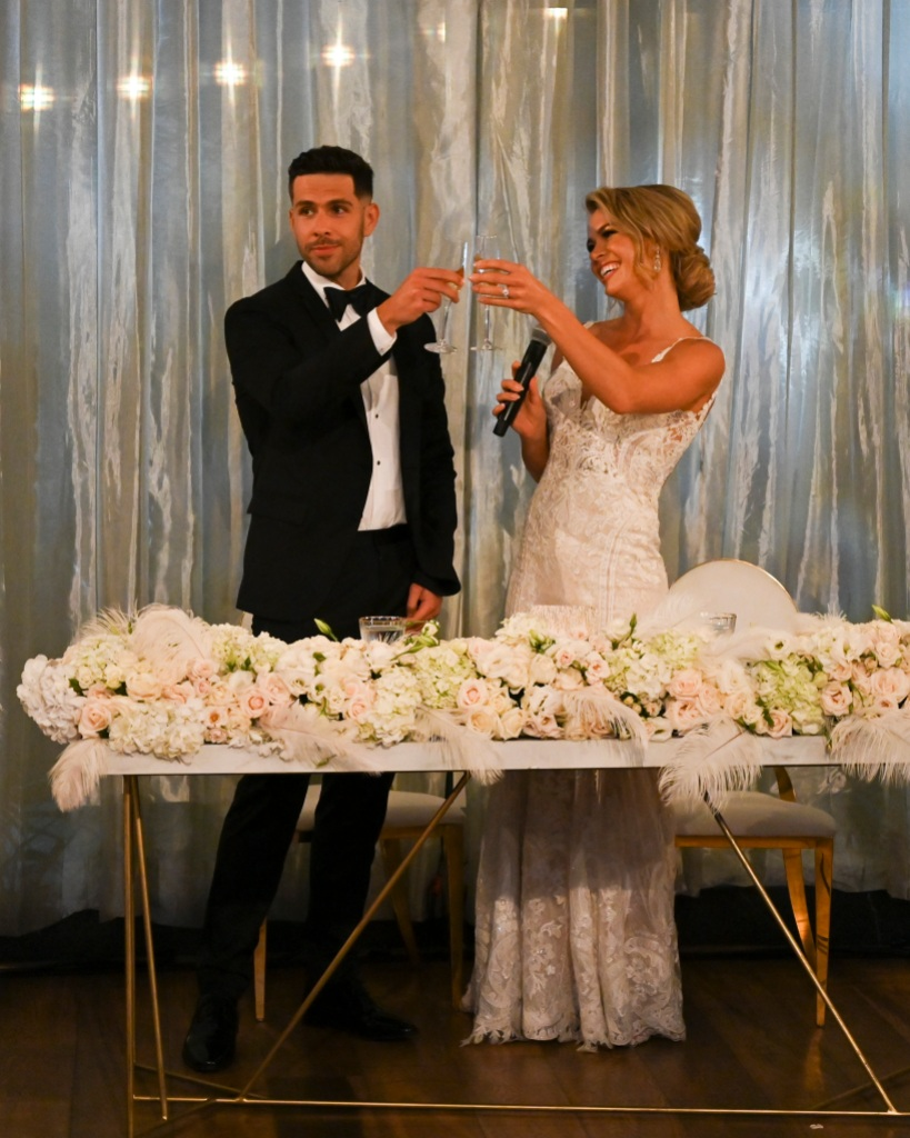 CHRIS RANDONE, KRYSTAL NIELSON Toast at their wedding on Bachelor in Paradise