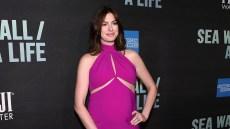 Anne Hathaway Baby Bump Purple Dress