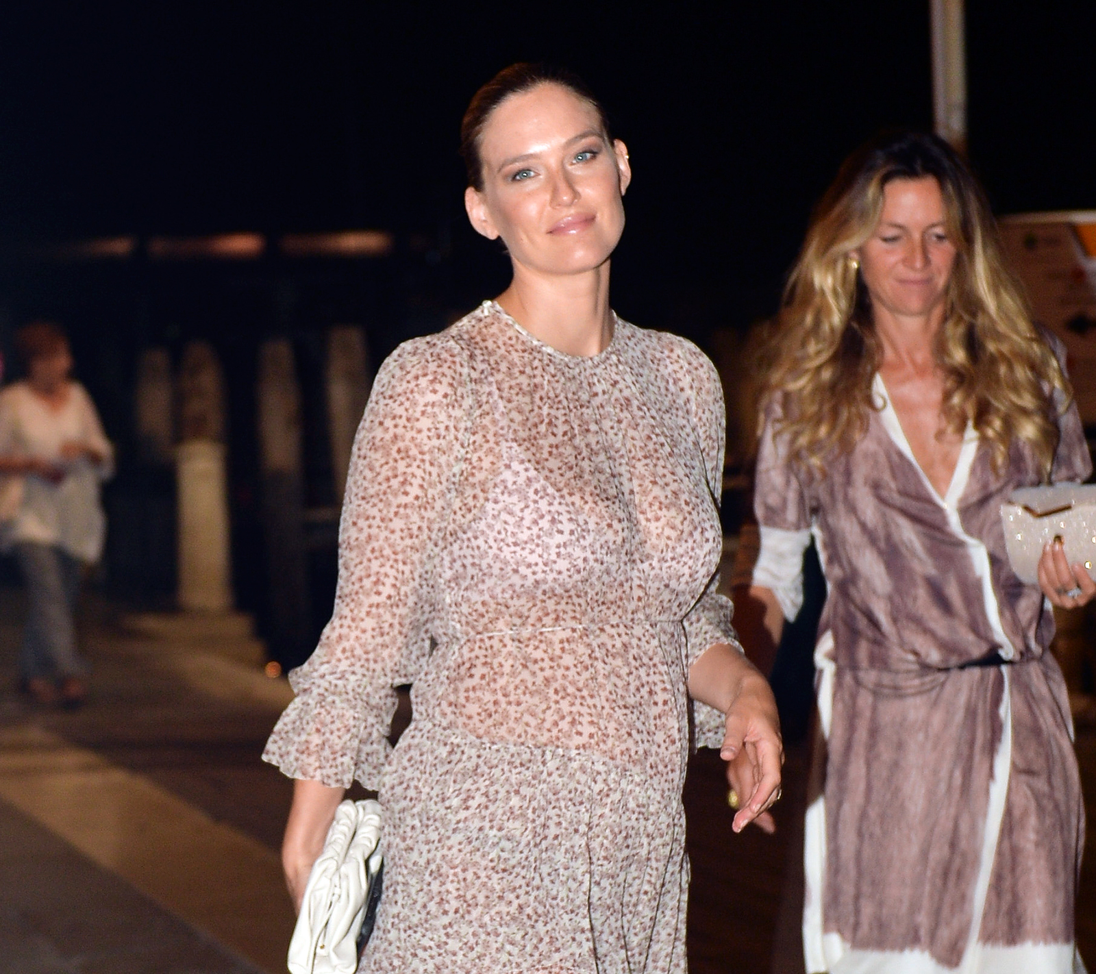 Bar Rafaeli Shows Off Baby Bump in Sheer Dress While Out in Italy