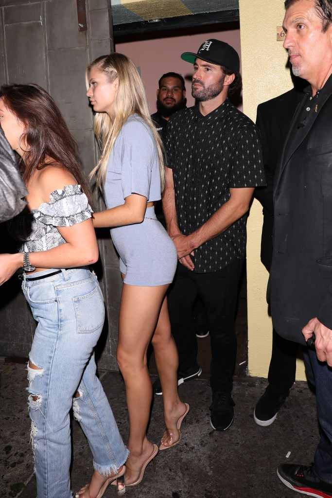 Brody Jenner Wearing All Black With Josie Canseco in Purple