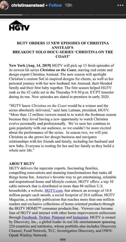 Christina Anstead IG Story